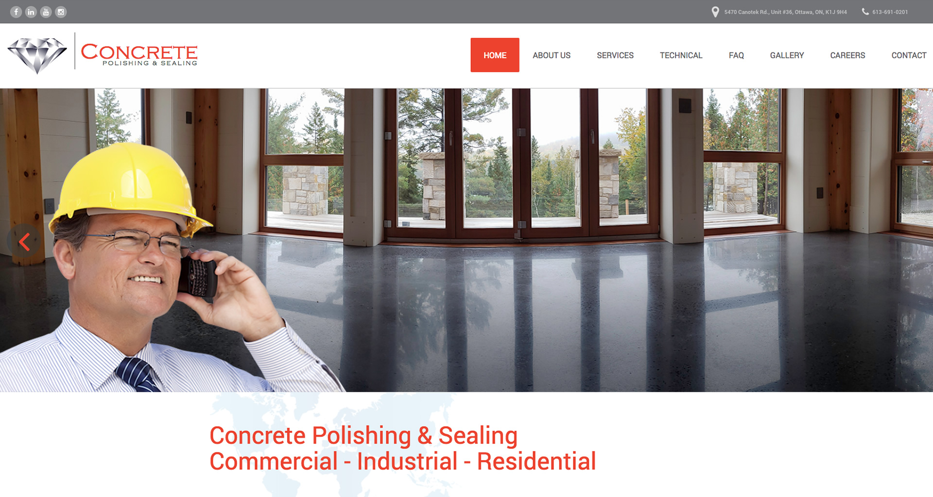 Concrete Polishing & Sealing Ltd webdesign by 45 Degrees Latitude