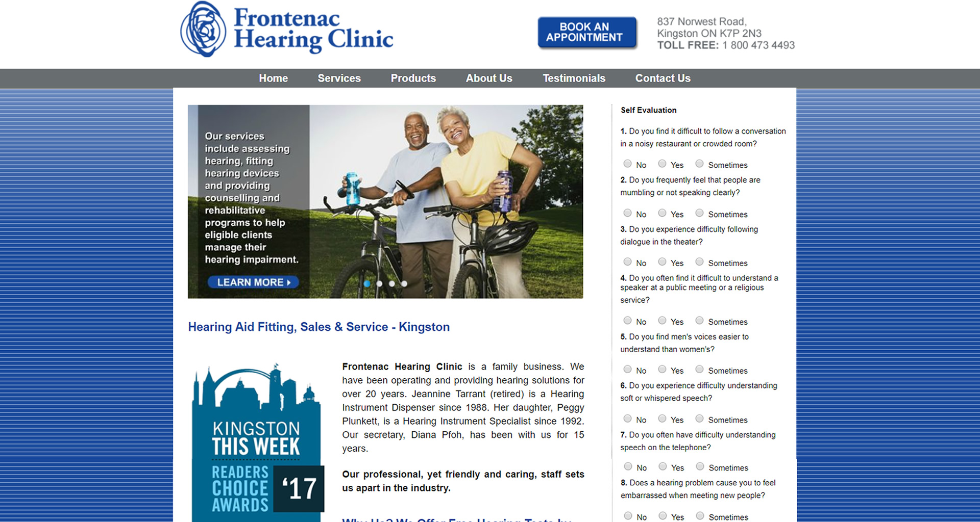 Frontenac Hearing Clinic - Belleville Ontario, web maintenance by 45 Degrees Latitude.